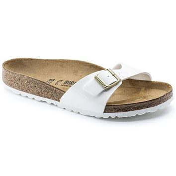 Birkenstock Madrid Birko Flor Patent Patent White 1005309/1005310 Sandals - Best Deal