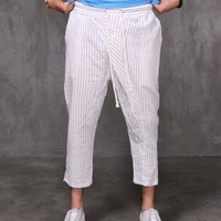 Julio Drop Crotch Striped Cool Cotton Crop Pants