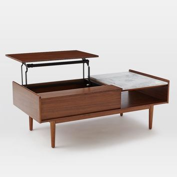 Mid-Century Pop-Up Storage Coffee Table – Walnut