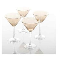 11-Ounce Clear Martini Glass Set of 4 New Home Barware Artisanal Gold Etching