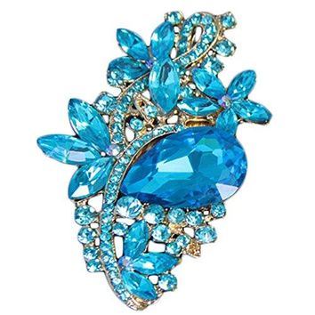 Bai You Mei Fashion Waterdrop Flower Brooch Silvergold Plated Crystal Rhinestone Pendant Jewelry