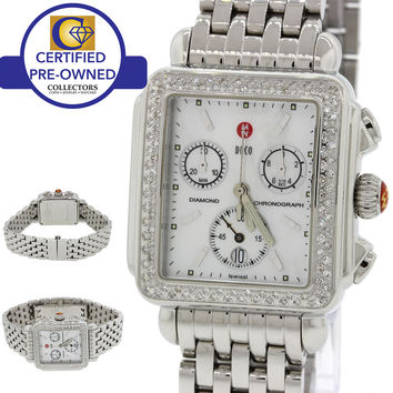 Ladies Michele Deco MOP Chronograph Steel Diamond Bezel 33mm Watch