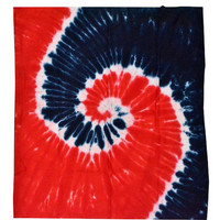 RED WHITE & BLUE Tie Dye Blanket : Fourth of July, Patriotic, Red and Blue, Spiral Tie Dye, Hippie, Retro, Blanket, Throw Blanket