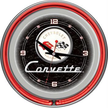 Corvette C1 Neon Clock - 14 inch Diameter - Black