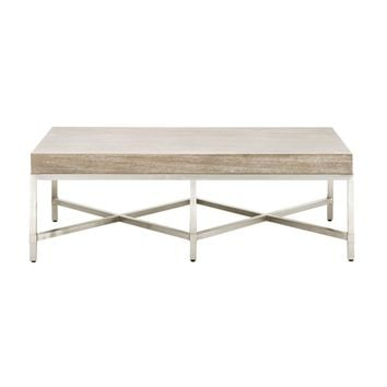 Strand Coffee Table Natural Gray, Brushed Stainless Steel