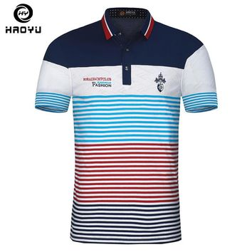Embroidery Men Polo Shirt Floral Collar Striped Printed Polo Breathable Cotton Slim Me