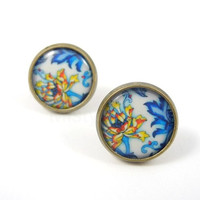 Blue White Floral Stud Earrings - Floral Jewelry - Blue Yellow White Earrings