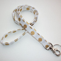 Lanyard ID Badge Holder -  metallic gold dots on white - Lobster clasp and key ring