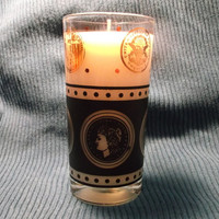Vintage Mad Men Black Gold Coin 12 oz Glass Soy Candle
