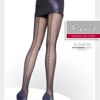 FIORE Luxury European ALAMEDA 20 den Metallic Pattern Back Seam Tights Pantyhose