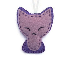 Cat felt plushie, purple kitten, cat plush softie, tiny soft toy