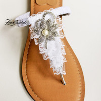 Elegant Shoes by Zee Sandals, Summer Sandal with Sparkling Jewels for Destination Beach Wedding (Style: LASKA)