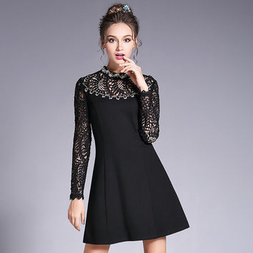 Crochet Lace Spliced Little Black A Line Mini Dress Embellished Party Dresses with Beads and Sequin l to 5xl
