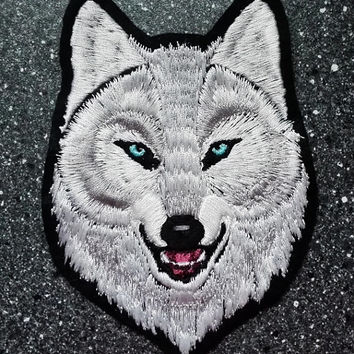 White blue-eyed Alpha wolf head  -  Embroidered sew-on patch