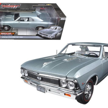 1966 Chevrolet Chevelle SS Silver- Chateau Slate Limited Edition to 1002pc 1-18 Diecast Model Car by Autoworld