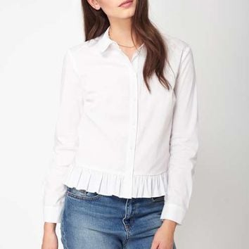 Poplin Frill Hem Shirt - Black Friday - Apparel