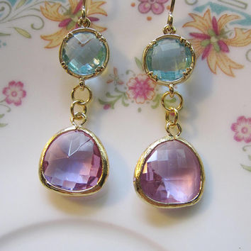 Lavendar and Blue Earrings, Faceted Glass Dangle - Bridesmaid, Garden Jewelry - Bridal Jewelry