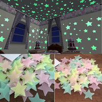 100pcs Wall Stickers Decal Glow In The Dark Baby Kids Bedroom Home Decor Color Stars Luminous Fluorescent Wall Stars