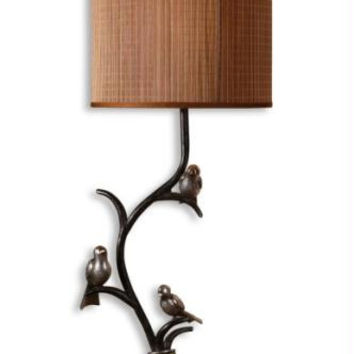 Buffet Table Lamp - Polished Bronze Body With Heavily Antiqued Effect