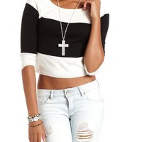 Striped Pullover Crop Top: Charlotte Russe