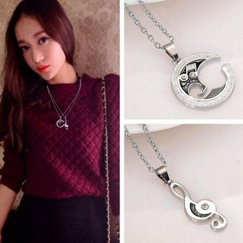 PEAPIX3 2 pcs  Stainless Steel Couple Matching Music Note Pendant Necklace = 1929809156