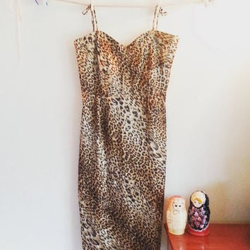 Animal Print, Marilyn Monroe Style, Vintage Style Dress, Size 11, Leopard Print, Cheetah Print, Gift for her, Cocktail Dress, Pencil Skirt