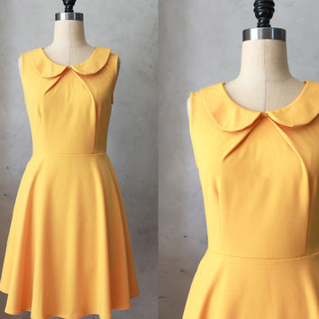 PROVENCE MUSTARD - Round collar yellow fit & flare dress / bridesmaids / neck pleat / pockets/ vintage inspired / day / spring / party