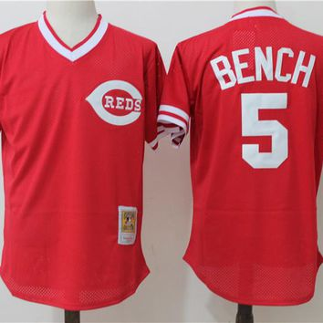 Men's Cincinnati Reds Johnny Bench Mitchell & Ness Red 1983 Authentic Cooperstown Collection Mesh Batting Practice Jersey