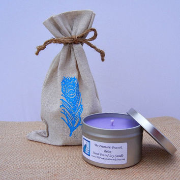 Mother's Day Gift Relax Lavender Aromatherapy Scented Soy Candle in Peacock Feather Linen Bag Gifted to Hollywood Celebrity Moms