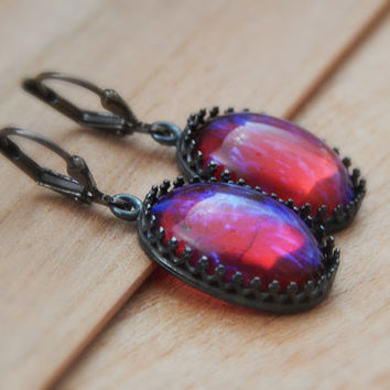 Dragon breath Opal earrings, Mexican fire opal dragon breath gunmetal drop earrings