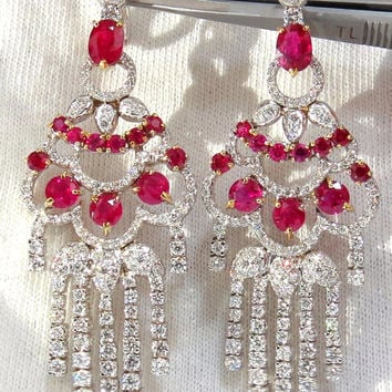 11.20ct NATURAL RED RUBY DIAMOND DANGLING CHANDELIER EARRINGS OMEGA 18KT