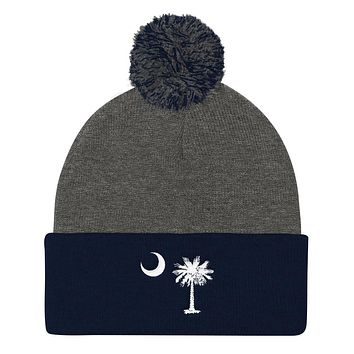 South Carolina Palmetto Moon Embroidered Pom Pom Knit Cap