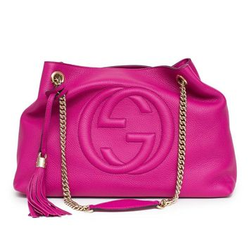 Gucci Soho Leather Shoulder Bag Pink Bright Bouganvillia Leather Handbag