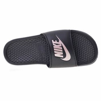 "Nike Benassi Just Do It Beach Slipper Sandals ""Black"" 343881-007"