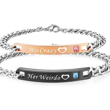 His & Hers Matching Set Titanium Stainless Steel His Crazy Her Weirdo Couple Bracelet in a Gift Box