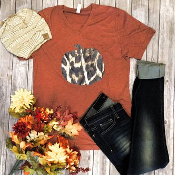 Leopard Pumpkin orange V neck T-shirt