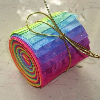 Hand Dyed Cotton Quilt Fabric Jelly Roll by rubymountaindyeworks
