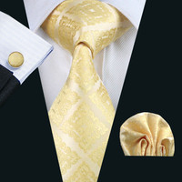 Men`s Tie Yellow Novelty Jacquard Woven 100% Silk Brand Tie Hanky Cufflinks Set For Wedding Business Party Free Postage LS-1036