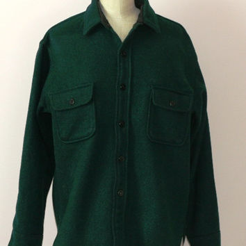 Vintage Fox Knapp Long Sleeve Wool Shirt Hunter Green