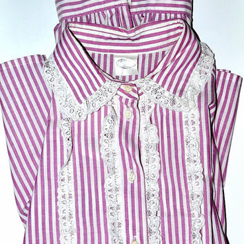 Vintage 70s Striped Shirt Victorian Style Ruffled Blouse Oversized Pink White Plus Size Large L XL Xlarge vtg
