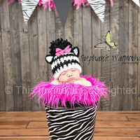 Black and white zebra crochet hat, Photography prop. Animal hat