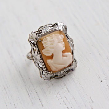 Antique Cameo Ring - Vintage Art Deco 1920s Filigree Silver Tone Art Nouveau Carved Shell Jewelry / Flower Accents & Orange Blossoms