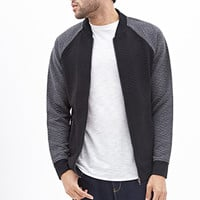 Colorblocked Quilted Knit Bomber