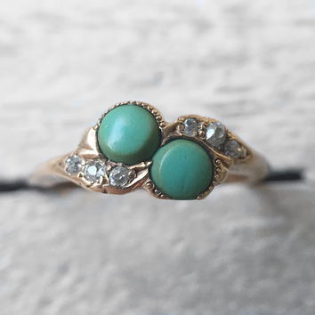 Vintage Two Stone Chrysoprase and Diamond Art Deco 14k rose gold ring - Ready to ship