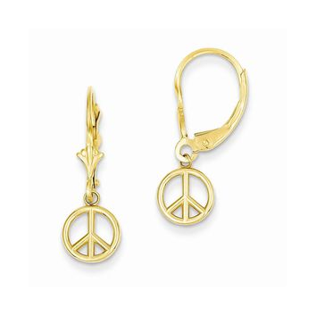 14k Yellow or White Gold Polished Peace Sign Dangle Leverback Earrings