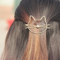 Fashion hollow cute cat hair pin Imitation pearl hairpin side clip hair accessories hairpin headdress for women