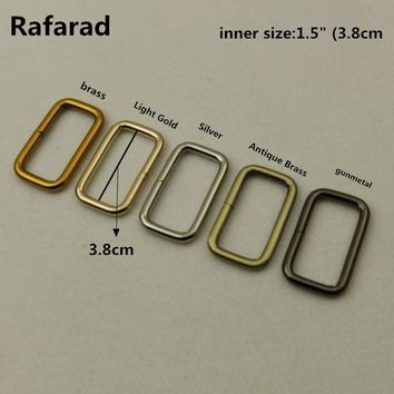 "10 pcs per Lot 1.5"" (3.8cm) Fashion Alloy Flat Rectangle Rings DIY Bag Accessories For Belt Buckles Metal Buckles Luggage Parts"
