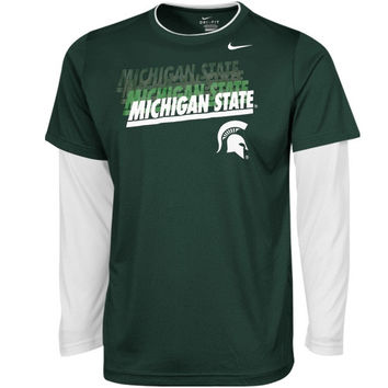 Michigan State Spartans Nike Youth 2Fer Performance Long Sleeve T-Shirt – Green - http://www.shareasale.com/m-pr.cfm?merchantID=7124&userID=1042934&productID=546711732 / Michigan State Spartans