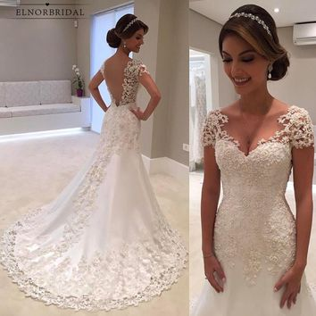 Vintage Lace Mermaid Wedding Dresses 2018 Robe De Mariee Backless Bridal Gowns Handmade Trouwjurk Wedding Gown Online Alibaba