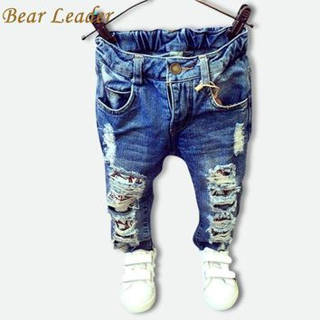 CUPUP9G Bear Leader Children Broken Hole Pants Trousers 2016 Baby Boys Girls Jeans Brand Fashion Autumn 2-7Y Kids Trousers Clothes